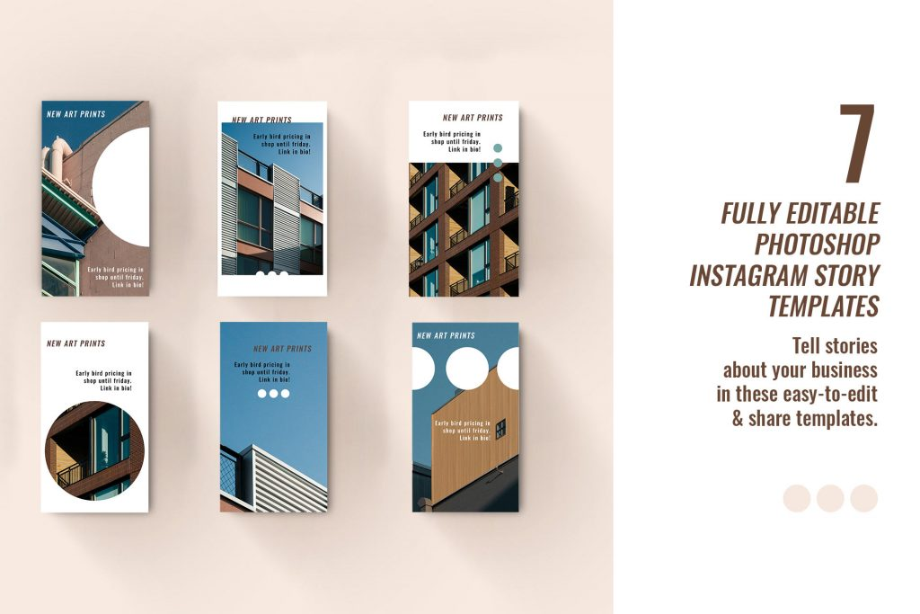 Instagram Stories Photoshop templates: bauhaus style circular photos and motifs for this Photoshop PS Creative Cloud template for desktop Instagram Stories.