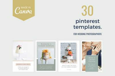 Pinterest templates for wedding photographers to use in online marketing design tool Canva.