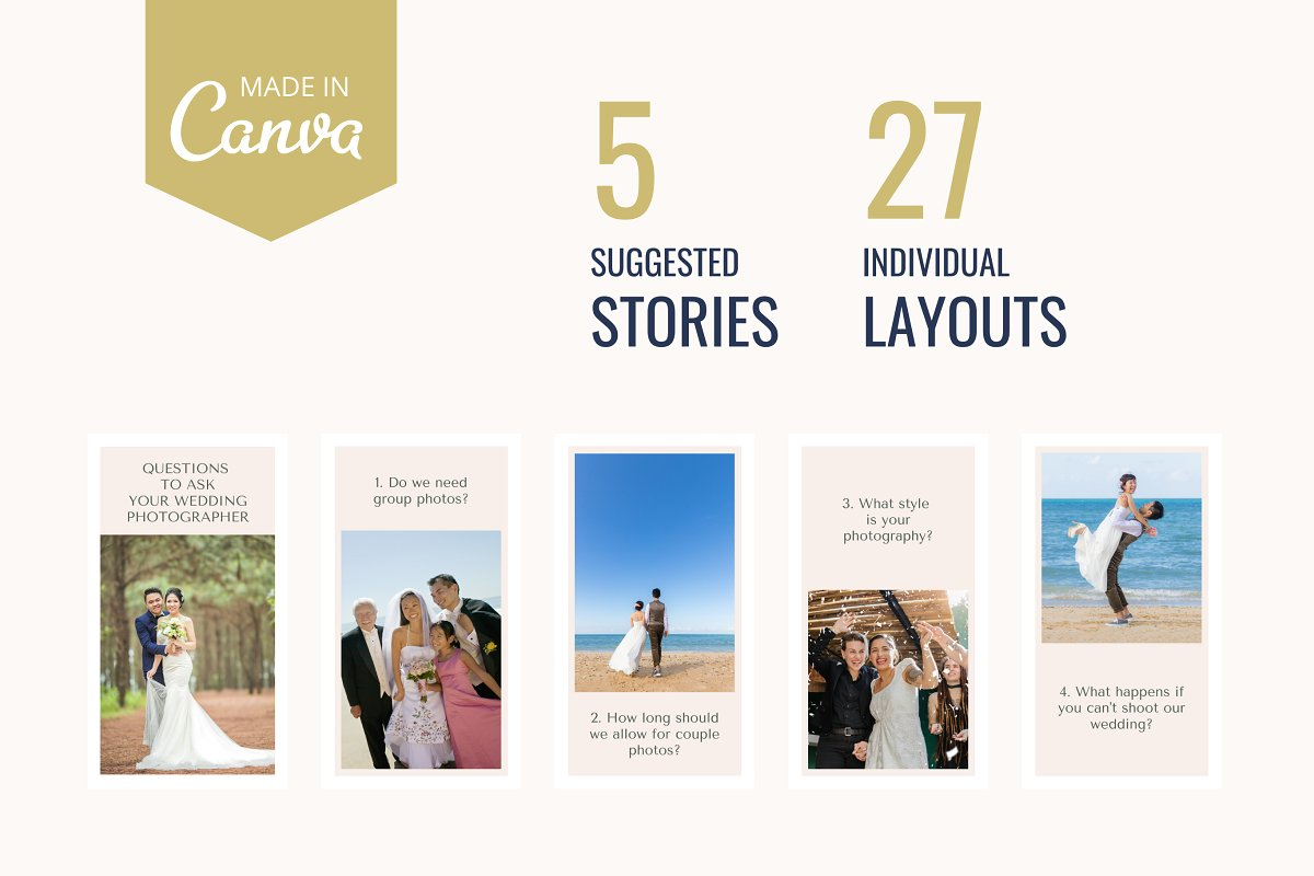 Instagram story templates for weddings - Canva compatible.