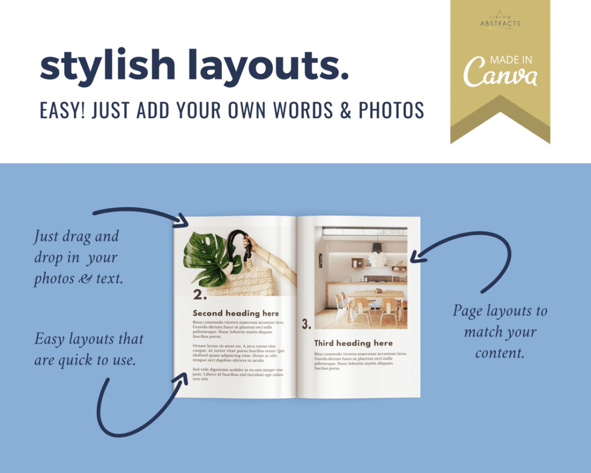 Stylish layouts explained in this detail from an ebook template for online design tool Canva.