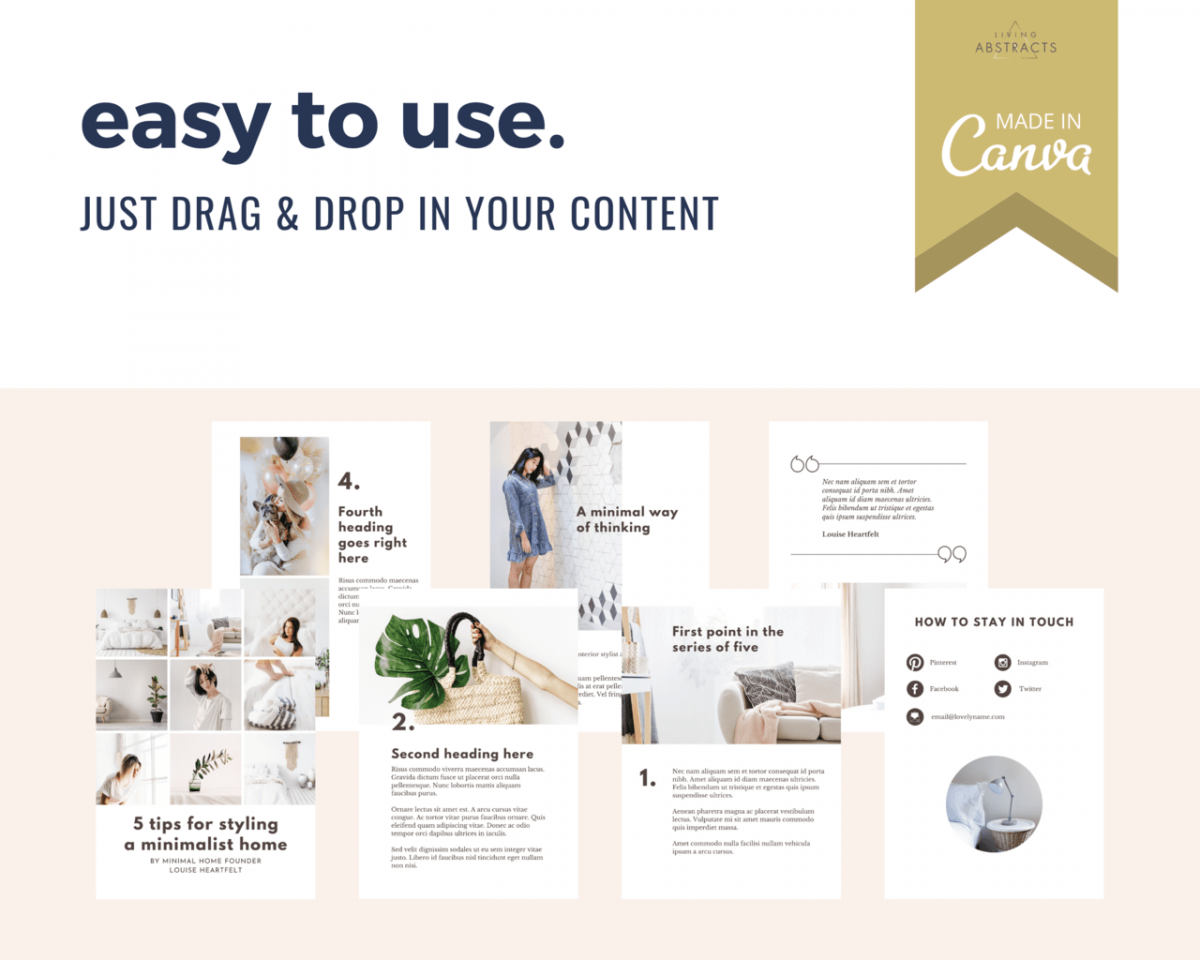 To update your ebook template, just drag and drop photos and your content into the text areas.