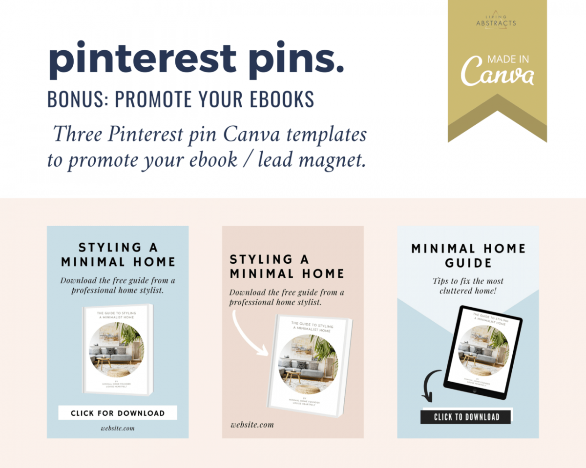 Ebook PDF promotional pins for Pinterest - your bonus when you purchase the ebook templates for Canva.
