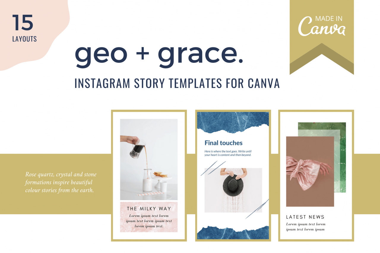 Instagram Stories Canva template Geo and Grace for influencers and stylish Instagram accounts.