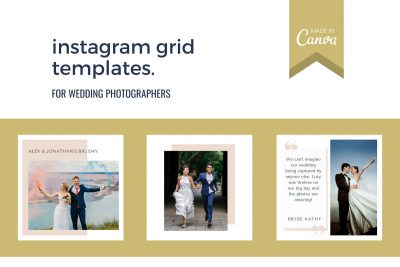 Instagram templates for wedding photographers. Update in free online design tool Canva.