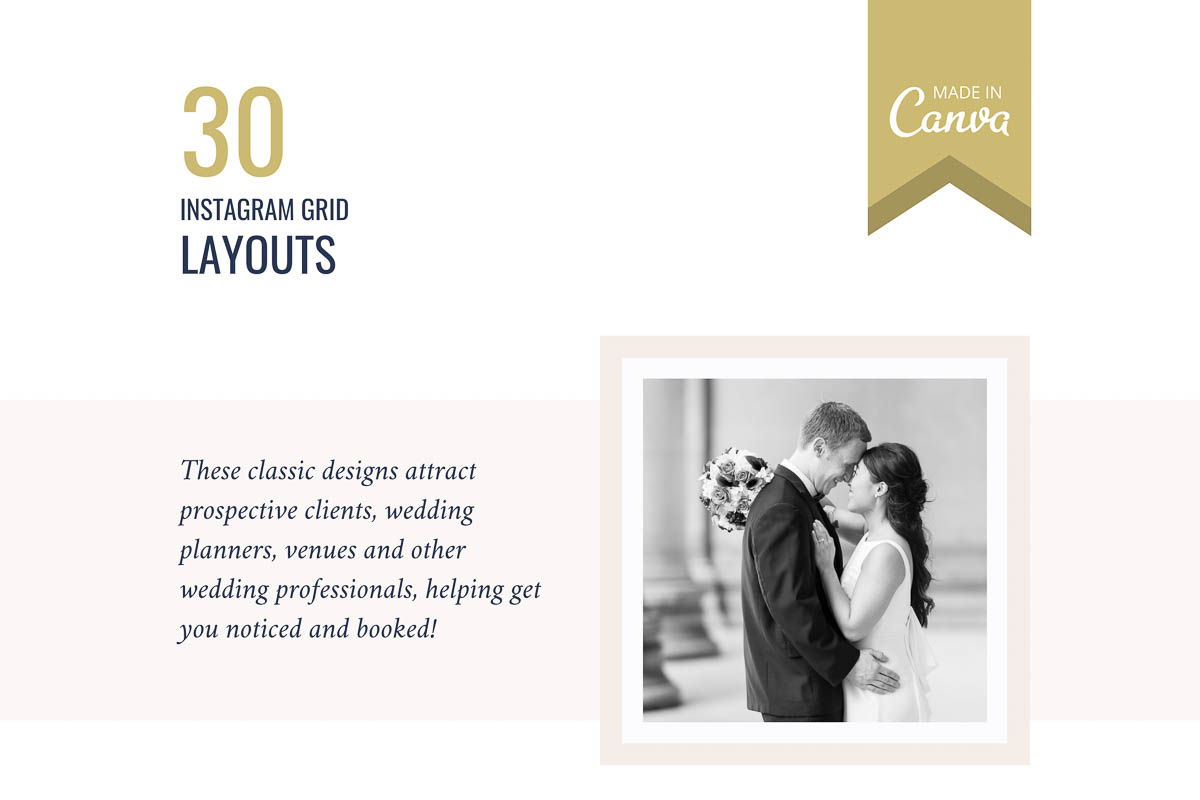 Classic designs to attract high end planners, venues and other wedding professionals.