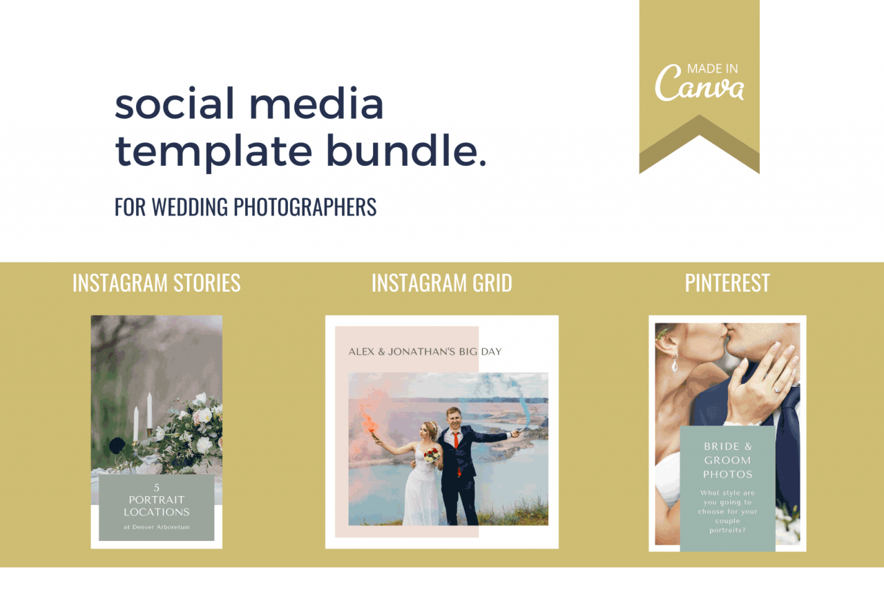 Social media template bundle for wedding photographers with Instagram templates, Instagram Story templates and Pinterest templates.