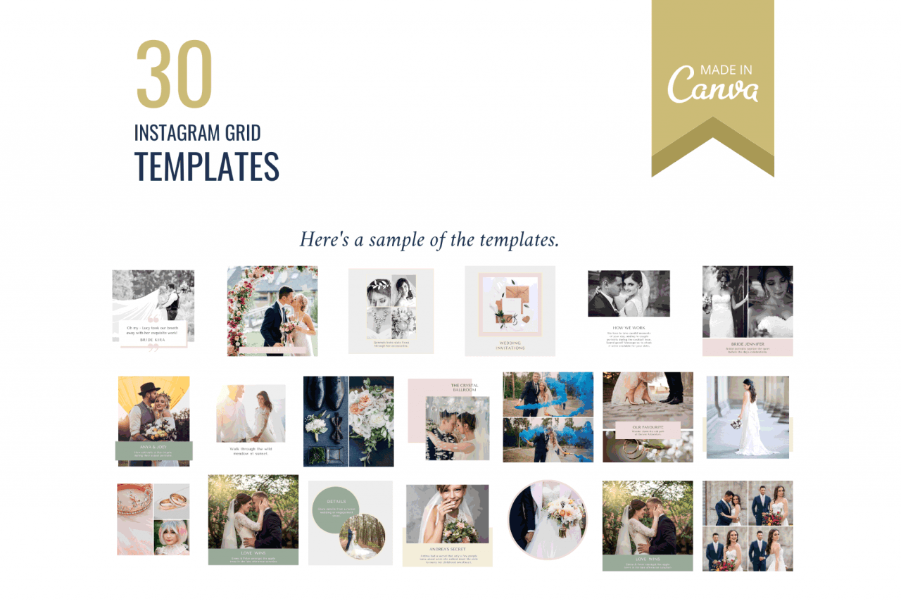 Instagram templates for a beautiful Instagram wedding photography grid that entices couples and impresses event planners.