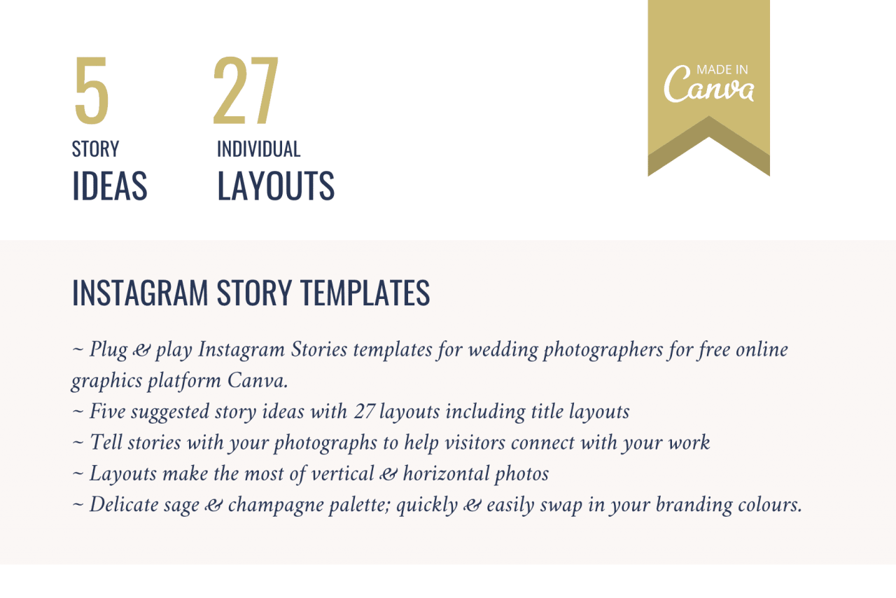 Use these Instagram Story Templates for your wedding photography business with five story ideas and 27 individual layouts to tell stories that convert casual onlookers into paying clients.