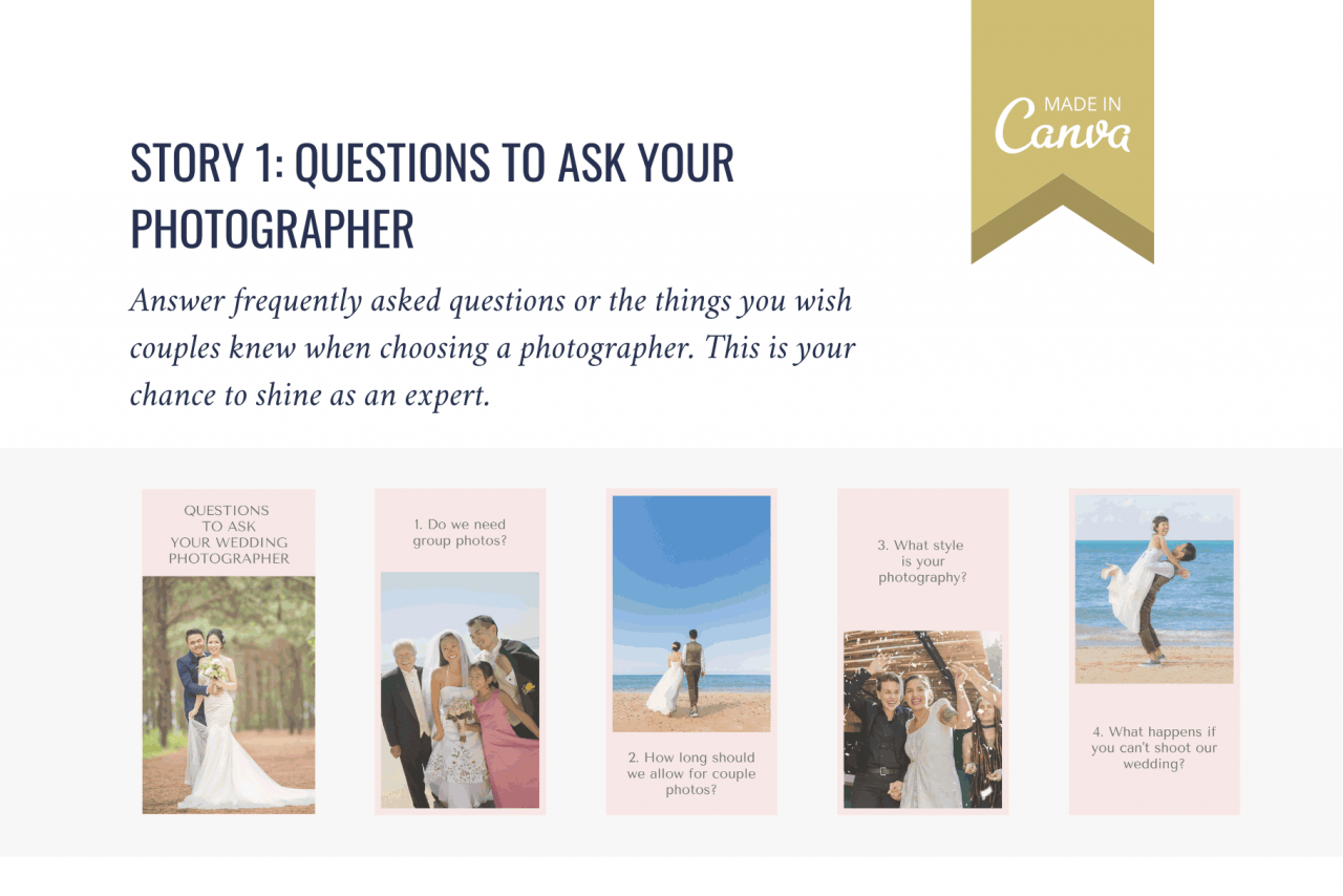 Show your photography expertise with these Instagram story templates for FAQs. Shine as an expert voice!