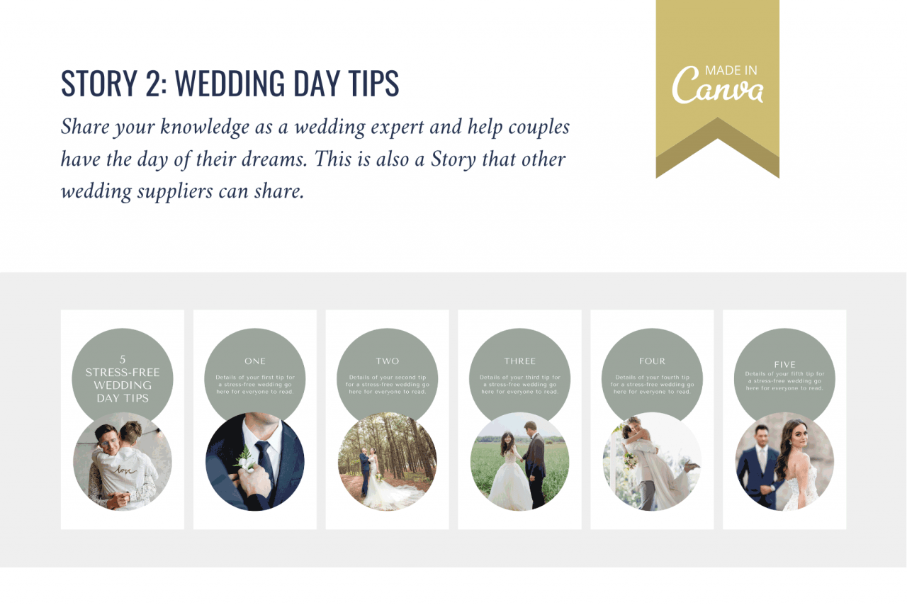 Instagram Story templates for wedding photographers - wedding day tips. Show you're the expert and keep on your profile in the highlights.