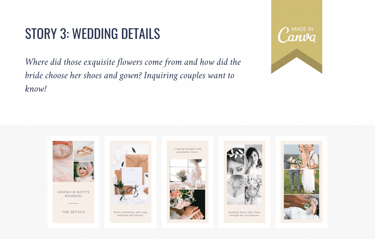 Couples love to find out the best wedding suppliers - help them with these Instagram Stories to share wedding details.