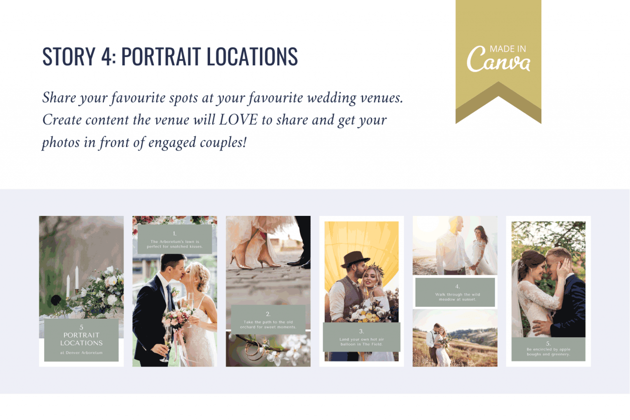 Portrait locations Instagram Story - share your favourite places you take brides and grooms and show you're the expert!