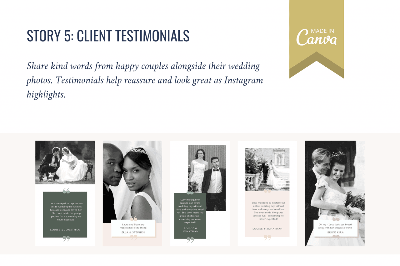 This social media template bundle includes Instagram Story templates that are perfect for client testimonials. Social proof like this helps reassure potential clients about getting in touch.