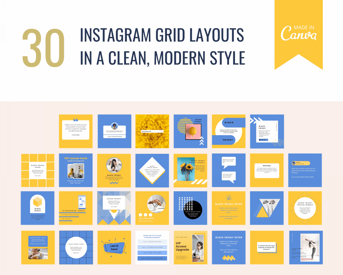 Black Friday social media templates for Canva including 30 modern designs for Instagram's grid.
