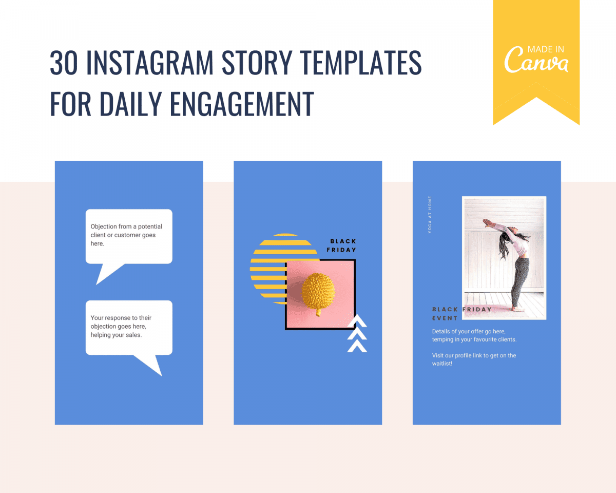 Black Friday Instagram Story templates in bright, modern designs. Edit easily and quickly in online design tool Canva.