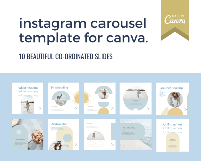 Instagram carousel template for Canva boho style in blue and gold with desert elements including a star and arch.
