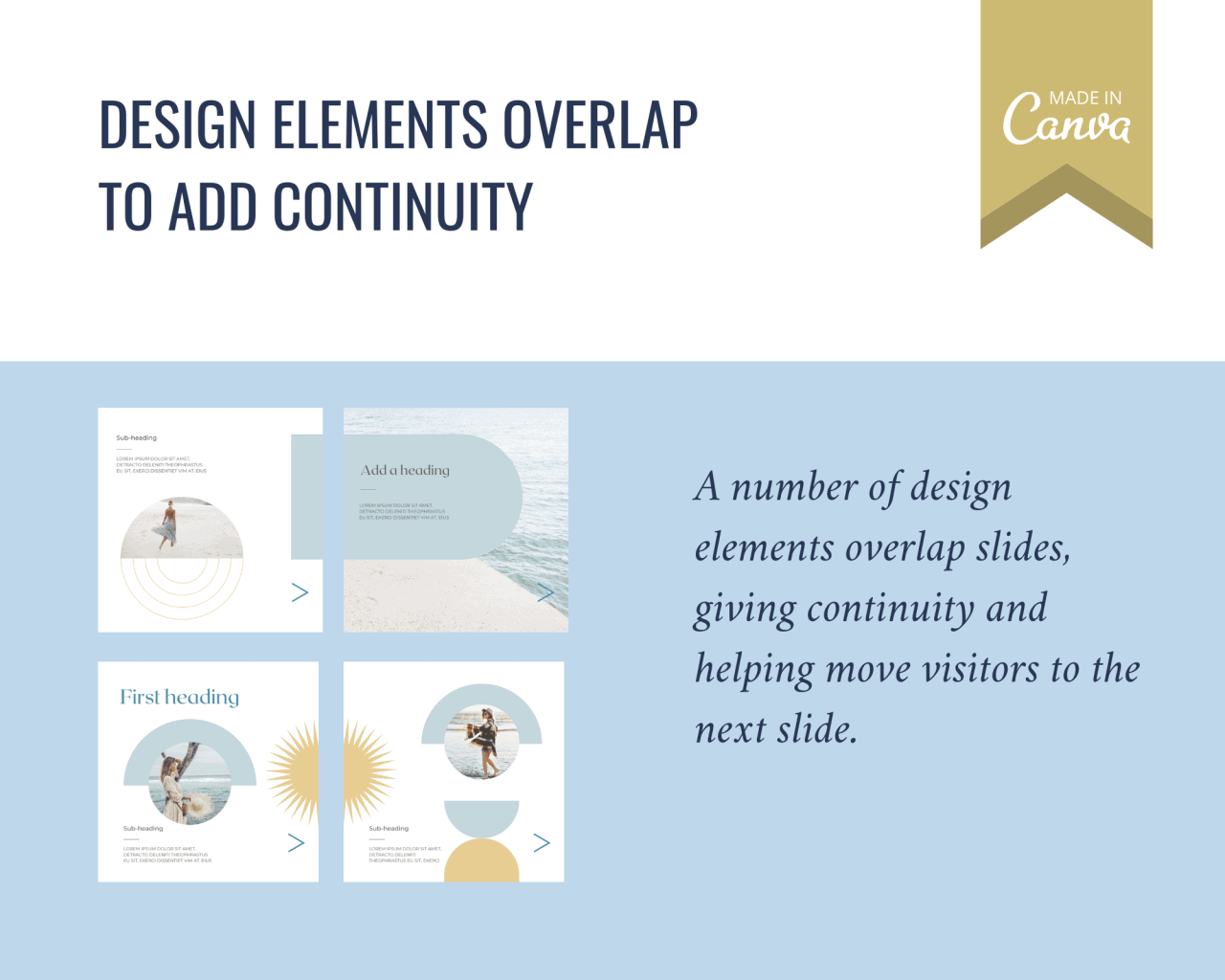 Overlapping design elements between slides add continuity in this Instagram carousel template with a blue and gold boho theme.