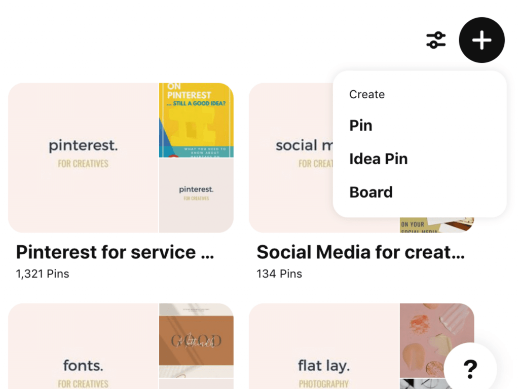 How do I start a board on Pinterest screenshot from Pinterest showing how to press the + button and create a new board for your account.