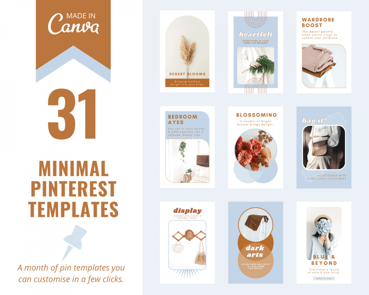 Minimal Pinterest templates for Canva - create a month of fresh pins for Pinterest.