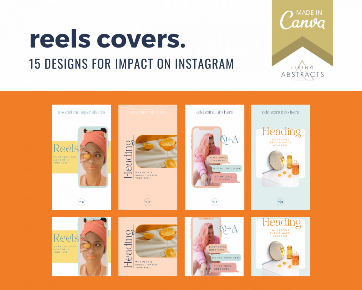Instagram Reels cover template for Canva - instant download
