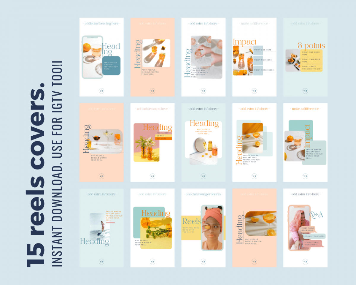 15 Instagram Reels templates for Canva that crop to squares for the Instagram grid.