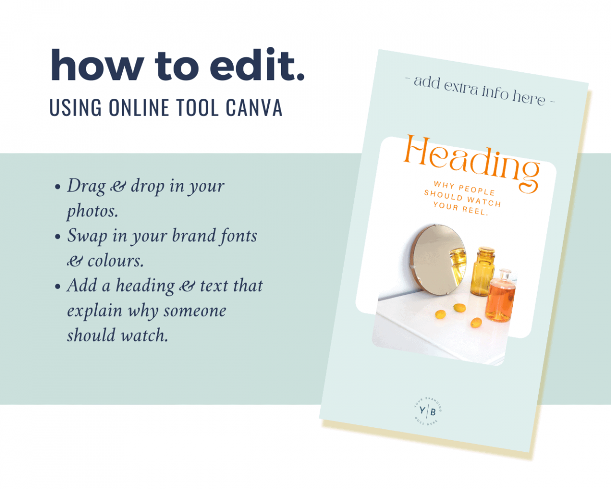 How to edit this Instagram Reel cover template in Canva: simply drag and drop in your photo or graphic, swap out the text, change colours and fonts and download as a jpeg.